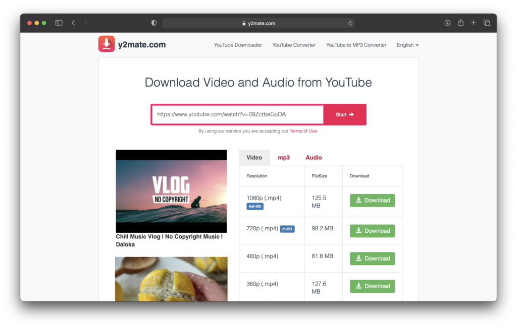 Download Youtube Videos from y2mate.com